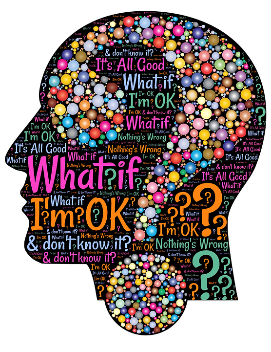 a human head in silhouette with questions populating the inside of the head