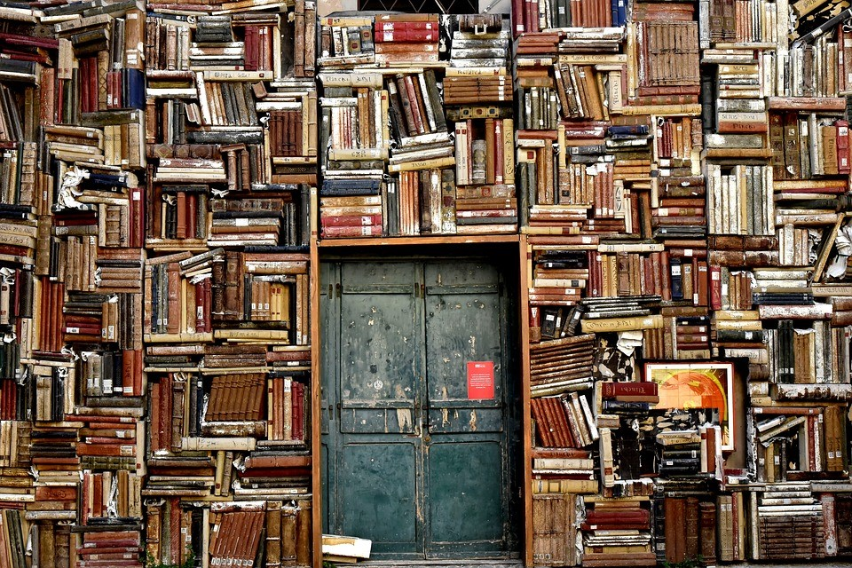 a small metal door surrounded by bookcases stuffed with books