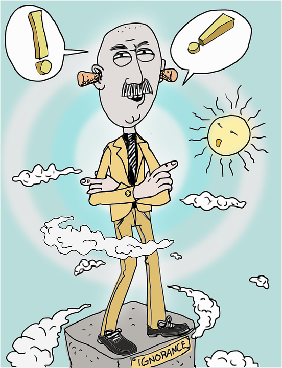 a cartoon of a man standing on a plinth with the word ignorance on it