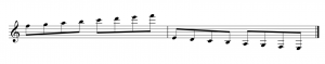A treble clef is on the left side of a staff. Notes (with beams and stems) are placed above and below the staff, on ledger lines.