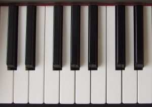 A photograph of a piano keyboard. There are both white keys and black keys.