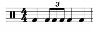 """A triplet rhythm is notated by writing a """"3"""" on top of the correct rhythm"""