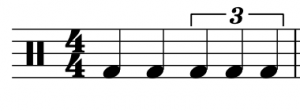 A quarter note triplet in a 4/4 meter spans two beats