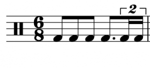 A duplet at the subdivision level appears in a 6/8 time signature.