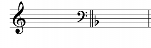 A treble clef is shown with a blank key signature, and a one-flat key signature is shown after a bass clef.