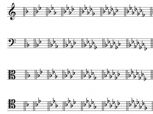 All of the flat key signatures, first in treble, bass, alto, and tenor clefs.