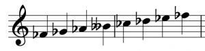 An F-flat major scale is shown in treble clef
