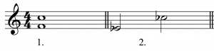 F and C are shown in treble clef in the first example; in the second example, e-flat and c-flat are shown in treble clef