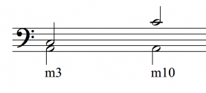 The notes A and C are shown, first as a simple interval (a minor third) and then as a compound interval (a minor tenth)