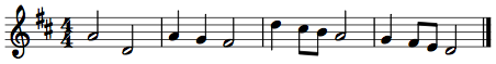 First a melody is shown in protonotation, with solfege and a series of lines and dashes. Next it is transcribed into staff notation, in treble clef in D major and common time