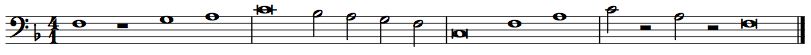 A melody is first shown in protonotation, and then is realized in staff notation in three different clefs, keys, and time signatures