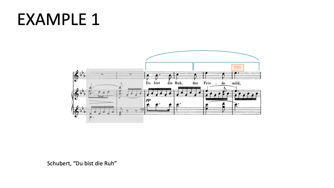 "The first phrase in Schubert's ""Du bist die Ruh"" is divided in two halves."