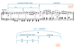 A contrasting beginning + extended cadential ending in Haydn's Symphony 95, Movement 3, measures 1-8