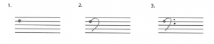 A bass clef is drawn in three steps.