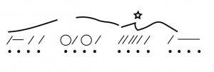 Contour lines and a star appear above the slash notation and dot grid from Example 2