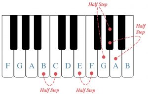 A piano keyboard is shown with the white keys labeled. Half steps between B/C, E/F, G and G sharp and A and A flat are shown.