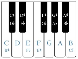 A piano keyboard is shown. The white and black keys are labeled. Each black key note has both a sharp and a flat name.