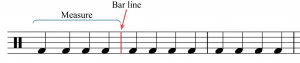 A measure is bracketed and a bar line is labeled
