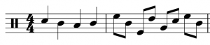 Upwards stems are on notes above the middle line, while downwards stems are on notes below the middle line. Notes on the middle line can be stemmed in either direction.