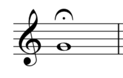 A note in treble clef with a fermata over it.