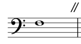 A note in bass clef with a caesura after it