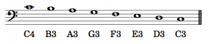 ASPN labels have been added to notes in the bass clef