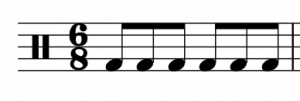A percussion clef, compound meter time signature (6/8) and six eighth notes