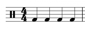 A percussion clef, 4/4 time signature, and four quarter notes on a staff