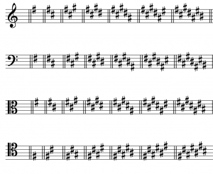 All of the sharp key signatures are shown in order, A, E, B, F♯, C♯, G♯, D♯, and A♯ minor, in treble, bass, alto, and tenor clef