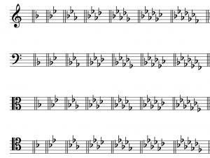 The minor key signatures of A, D, G, C, F, D♭, E♭, and A♭ minor are shown in treble, bass, alto, and tenor clefs