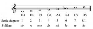 A D natural minor scale is shown in treble clef with solfege and scale degrees