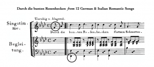 """The first three measures of """"Durch die bunten Rosenhecken"""" are shown. The first note in the highest part (the voice) is circled, as well as the first note in the lowest part (the lowest note of the piano)."""