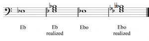 An E♭ major and E♭ diminished chord are both realized