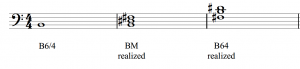 A B major triad in second inversion is realized in three steps.