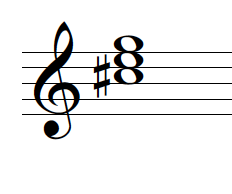 A C♯ diminished triad in treble clef in root position.