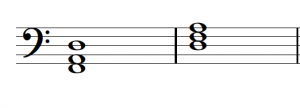 A D minor triad is shown in first inversion and root position in bass clef.