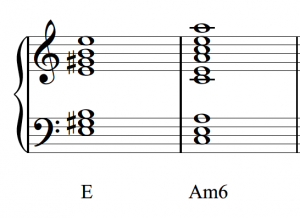 Two triads, E major and A minor in first inversion, appear with notes doubled and as properly identified.