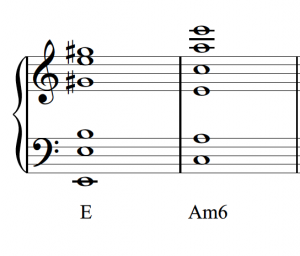Two triads with doublings are shown in open spacing.