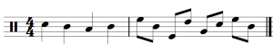 Two measures of notes are shown with proper stemming. Stems above the middle line point downwards, while stems below the middle line point upwards.