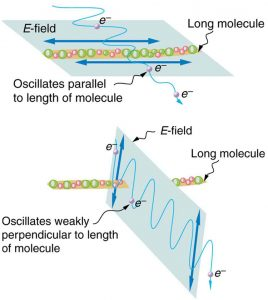 Figure 2.3.16. Artist's conception of an electron in a long molecule oscillating parallel to the molecule. The oscillation of the electron absorbs energy and reduces the intensity of the component of the EM wave that is parallel to the molecule.