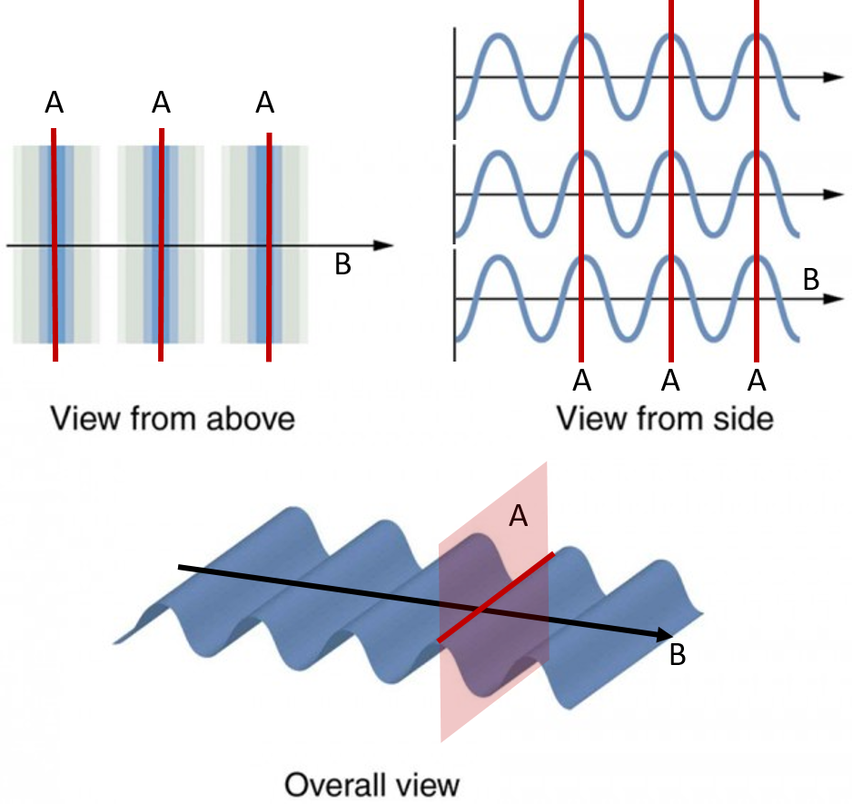 Figure 2.3.7. A transverse wave, such as an electromagnetic wave like light, can be viewed from above, from the side, or in three dimensions.