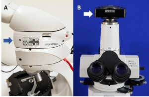 Figure 2.4.16. Digital cameras attached to two different polarizing light microscopes. In a), the camera is attached between the stage and oculars. In b), the camera is attached to the top of the microscope.