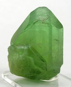 Figure 2.6.6 B. Light green forsterite crystal (Mg-Fe olivine) from Naran-Kagan Valley, Kohistan District, North-West Frontier Province, Pakistan.