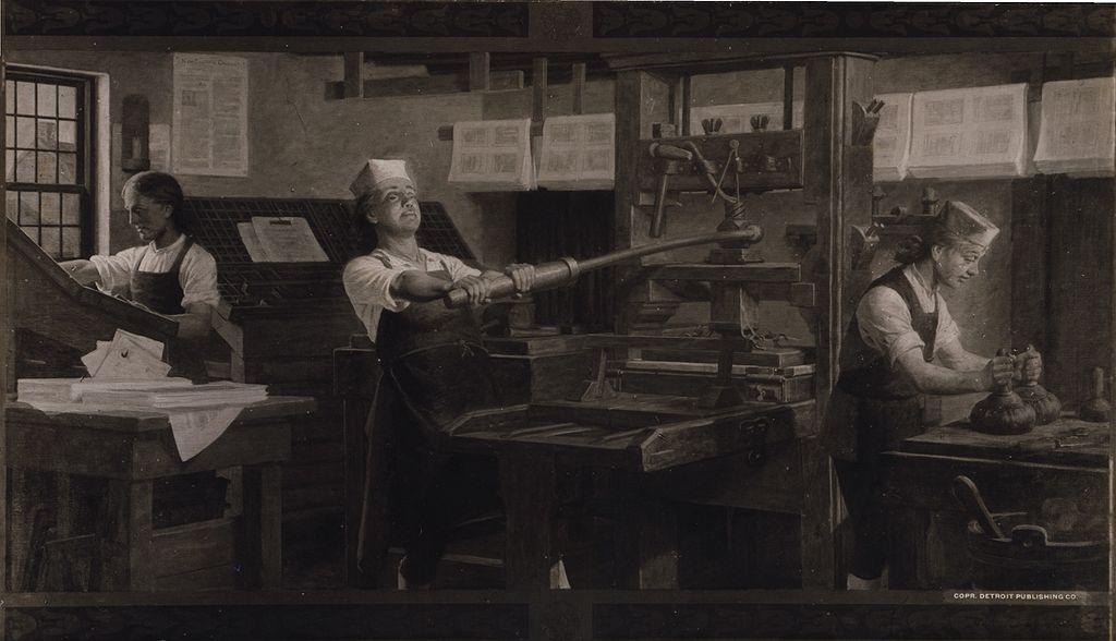 Benjamin Franklin at work at a printing press.