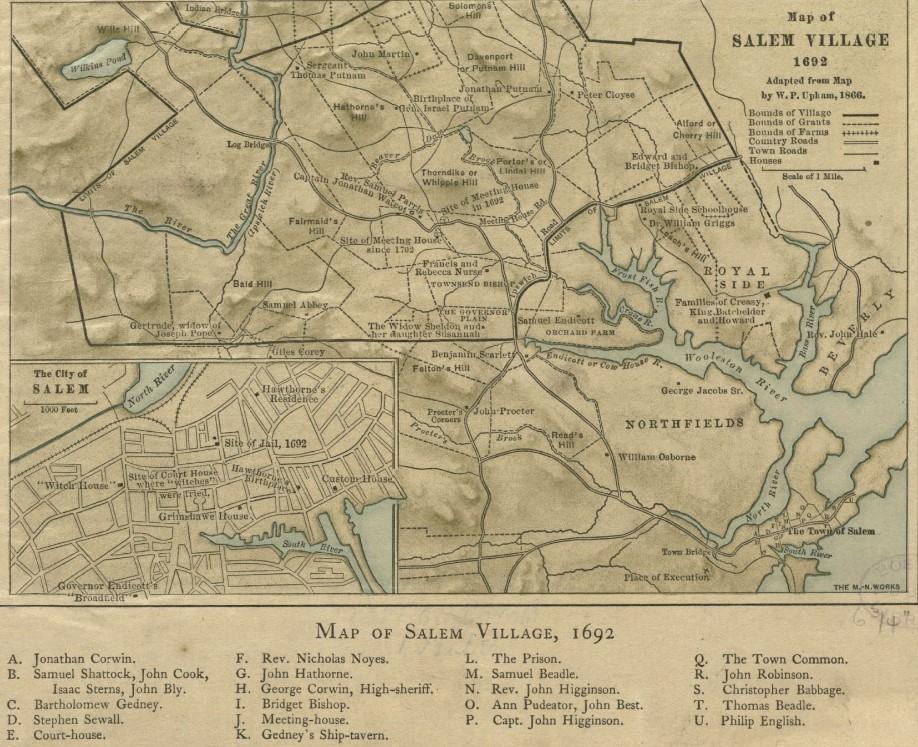 Map Of Salem Village 1692