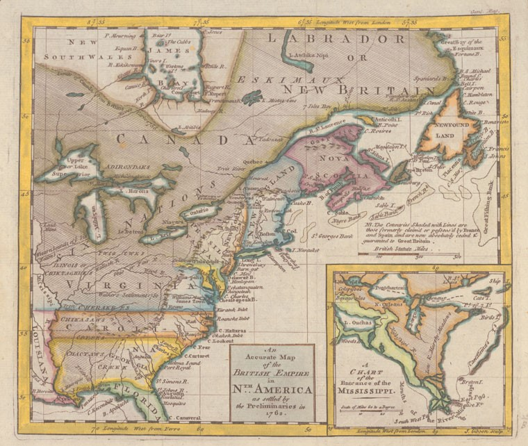 Map of Colonial North America 1762