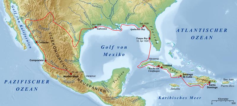 Map of the Expedition of Cabeza de Vaca